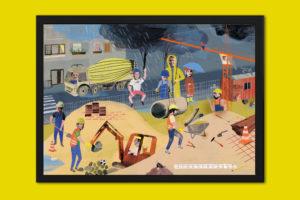 Personalisiertes Poster Baustelle Rahmen