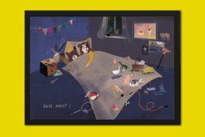 """Personalisiertes Poster """"Schlaf gut mit Bär"""" Rahmen"""